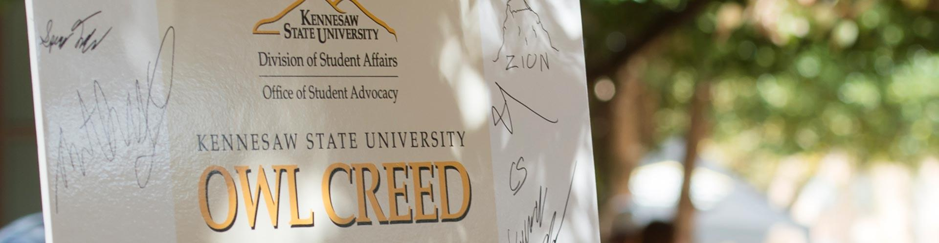 KSU Student Owl Creed